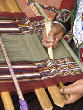 Woman in Traditional Dress, Weaving with Backstrap Loom, Chinchero, Cuzco, Peru by John & Lisa Merrill