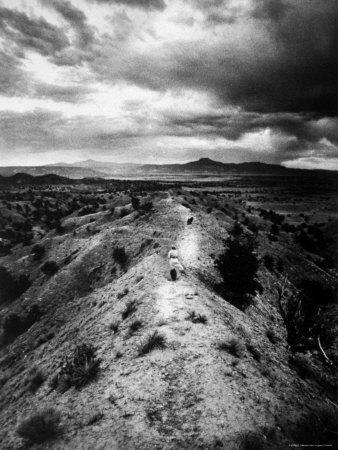 Distant of Artist Georgia O'Keeffe Taking Her Evening Walk at Ghost Ranch