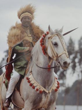 Ethiopian Horseman During British Queen Elizabeth II's Visit by John Loengard