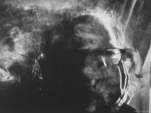 Hippie Poet Allen Ginsberg Smoking by John Loengard