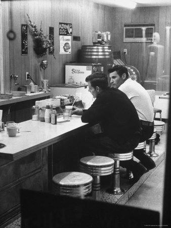 Patrons at Counter in Roadside Diner