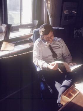 Senator Edward M. Kennedy on the Phone in His Office, Probably in Washington Dc by John Loengard