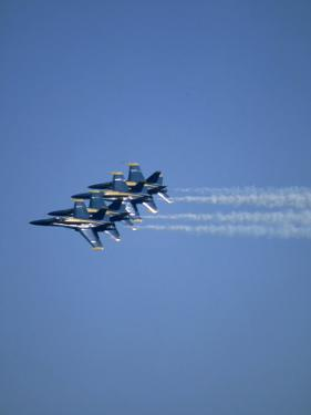 USN Blue Angels Flying in Formation by John Luke