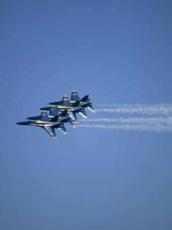 USN Blue Angels Flying in Formation by John Luke