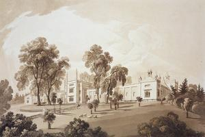 View of the Farm House with Screen to Stables and Farm Buildings to Sezincote House by John Martin