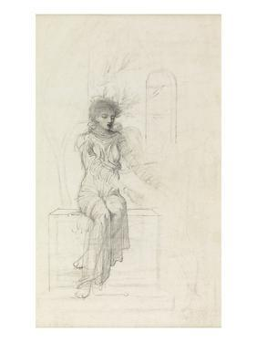 Study of a Seated Woman (Pencil on Paper) by John Melhuish Strudwick