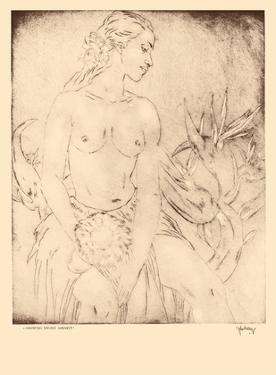 Hawaiian Dancer, Hawaii - Topless Native Girl - from Etchings and Drawings of Hawaiians by John Melville Kelly