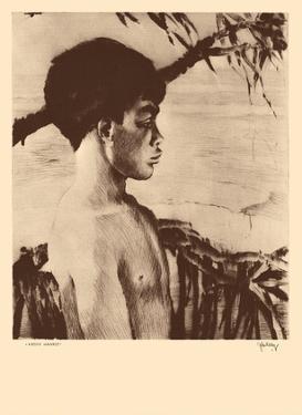 Kaipo, Hawaii - Native Hawaiian Boy - from Etchings and Drawings of Hawaiians by John Melville Kelly
