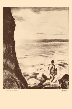 Moi Water Hawaii - Throw Net Fisherman - from Etchings and Drawings of Hawaiians by John Melville Kelly