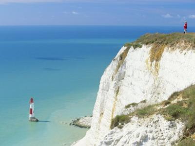 Beachy Head and Lighthouse on Chalk Cliffs, East Sussex, England, UK, Europe by John Miller