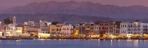Harbour at Dusk and White Mountains, Chania, Crete, Greek Islands, Greece, Europe by John Miller