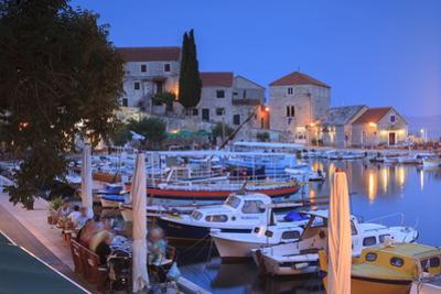 Harbour Lit Up at Dusk, Bol, Brac Island, Dalmatian Coast, Croatia, Europe by John Miller