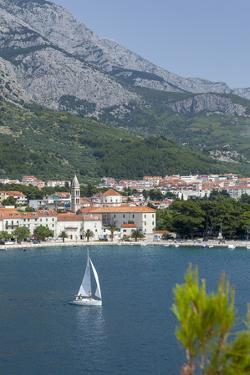 Makarska Harbour with Yacht and Mountains Behind, Dalmatian Coast, Croatia, Europe by John Miller