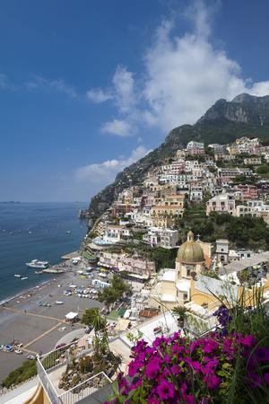 View of town and beach, Positano, Amalfi Coast (Costiera Amalfitana), UNESCO World Heritage Site, C