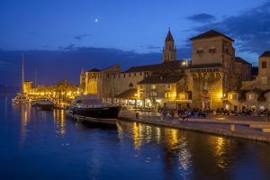 Waterfront Lit Up at Dusk, Trogir, UNESCO World Heritage Site, Dalmatian Coast, Croatia, Europe by John Miller