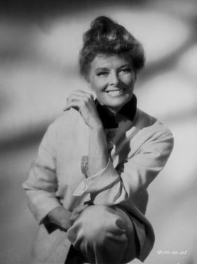 Katharine Hepburn posed in White Dress Black and White by John Monte