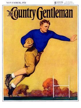"""Football Player,"" Country Gentleman Cover, November 1, 1931 by John Newton Howitt"