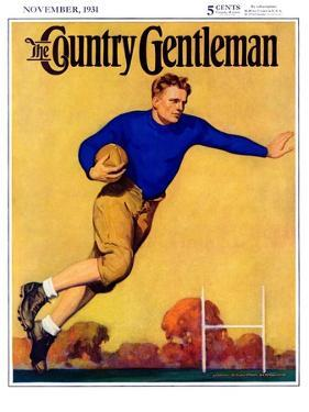 """Football Player,"" Country Gentleman Cover, November 1, 1931 by John Newton Howitt"