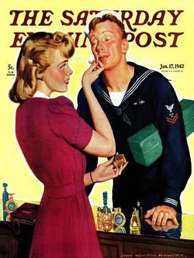 """""""Sailor Sniffing Perfume,"""" Saturday Evening Post Cover, January 17, 1942 by John Newton Howitt"""