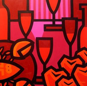 Poppies Apples Wine and Fish by John Nolan