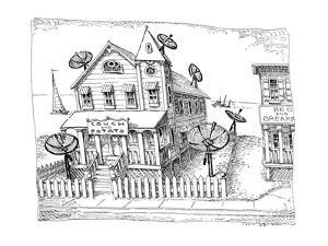 A bed and breakfast with satellite dishes and the sign, 'Couch and Potato'? - New Yorker Cartoon by John O'brien