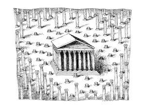 A Greek temple stands in what appears to be a forest of columns. Many of t… - New Yorker Cartoon by John O'brien