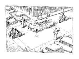 A motorcade made up of motorcycles around a delivery car that has a sign o… - New Yorker Cartoon by John O'brien