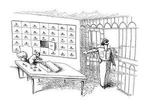 A squirrel in a bank vault counting nuts in safety deposit box. - New Yorker Cartoon by John O'brien