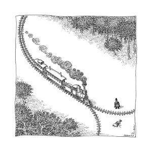 A train heads toward a tied up victim traveling along a track that comes t... - New Yorker Cartoon by John O'brien