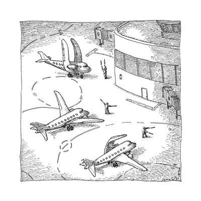 Airplanes on a runway match their wings to the shapes dictated by air-traf... - New Yorker Cartoon