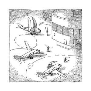 Airplanes on a runway match their wings to the shapes dictated by air-traf... - New Yorker Cartoon by John O'brien