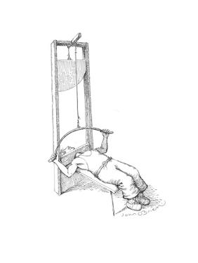 Bench press Guillotine - Cartoon by John O'brien