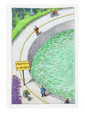 bike lane and poet lane. - Cartoon by John O'brien