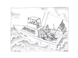 Boat with flag - Cartoon by John O'brien