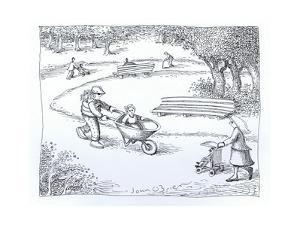 Boy riding in wagon rather than stroller. - Cartoon by John O'brien