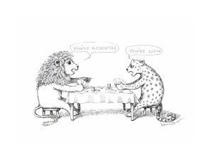 Cheetah and Lion playing cards - Cartoon by John O'brien