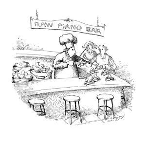 Chef stands at bar opening up miniature grand pianos with a knife, as if t… - New Yorker Cartoon by John O'brien