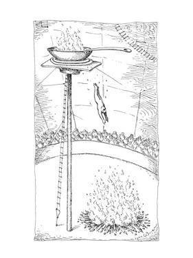 Circus performer dives out of an elevated frying pan that is on fire into … - New Yorker Cartoon by John O'brien