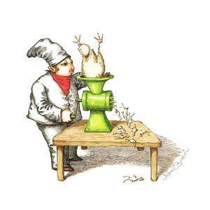 Cook grinding a chicken into smaller chickens. - Cartoon by John O'brien