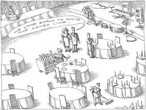 Couple speaking to worker at wedding hall, as area is being prepared,  'We… - New Yorker Cartoon by John O'brien
