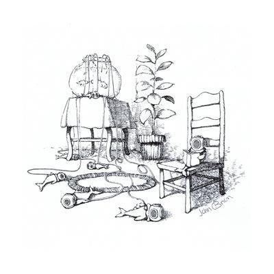 Fish wearing breathing apparatus outside of fish tank. - Cartoon