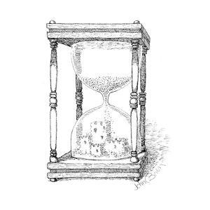 Hourglass and sandcastle - Cartoon by John O'brien