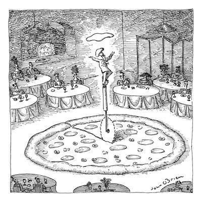 """In the middle of a restaurant, a chef balances atop a giant pizza-cutter (?"""" - New Yorker Cartoon"""