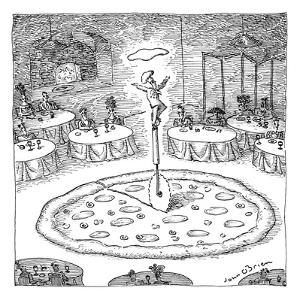 "In the middle of a restaurant, a chef balances atop a giant pizza-cutter (…"" - New Yorker Cartoon by John O'brien"