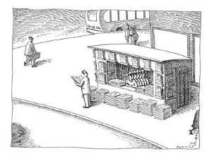 Man at newstand with multiple stacks of newspapers and multiple copies of … - New Yorker Cartoon by John O'brien