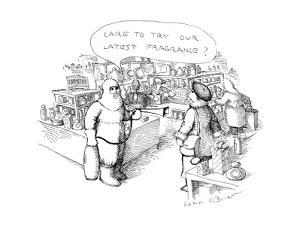 """Man in protective clothing with fire extinguisher in mall says to woman """"C…"""" - New Yorker Cartoon by John O'brien"""