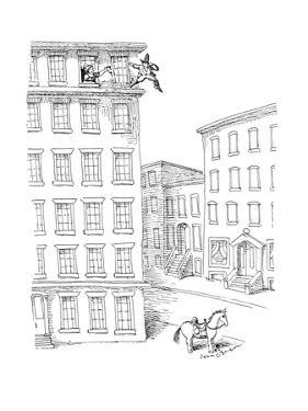 Man jumping off high-rise building to horse underneith. - New Yorker Cartoon by John O'brien