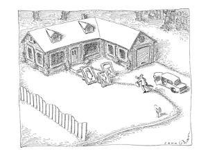 Man returns home to find picture-frame family awaiting him. - New Yorker Cartoon by John O'brien