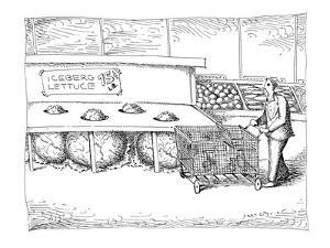 """Man sees tips of enormous lettuce heads sticking up out of lettuce tray la…"""" - New Yorker Cartoon by John O'brien"""