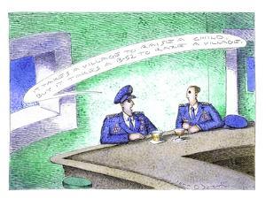 Military men at bar - Cartoon by John O'brien